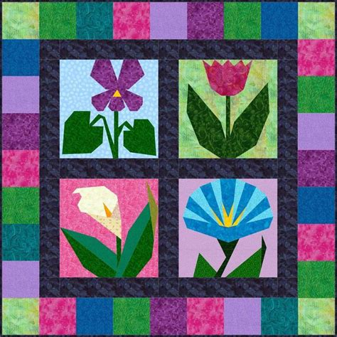 flower pattern quilt block morning in may flower pattern pack by piecebynumber craftsy