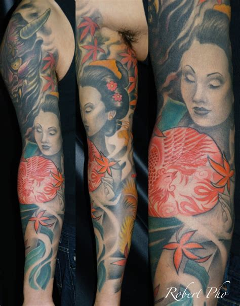 samurai tattoo with geisha japanese geisha and samurai mask tattoo on full sleeve