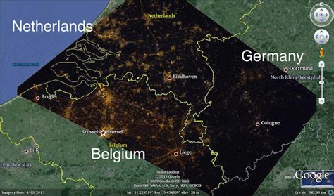 germany netherlands border map lights and prosperity don t always go in