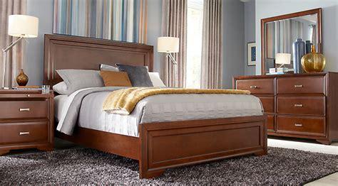 Belcourt cherry 7 pc queen panel bedroom queen bedroom sets dark wood