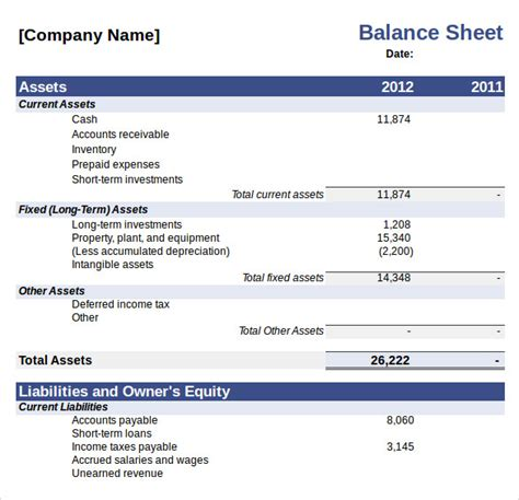 excel balance sheet template sle balance sheet 11 documents in word pdf excel