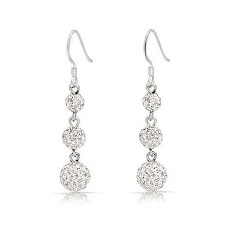 Dangle Earring balls shamballa inspired dangle earrings sterling