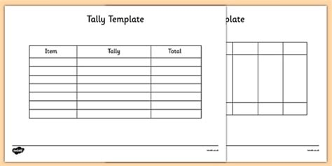 tally card template tally template tally template tally chart graph maths