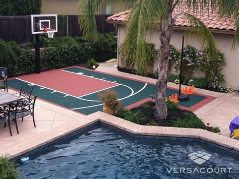 backyard pool and basketball court small basketball court in backyard landscaping
