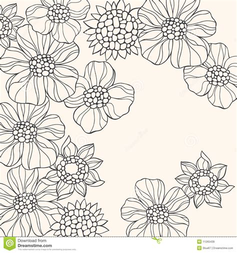 doodle a flower outlined doodle flowers vector royalty free stock images