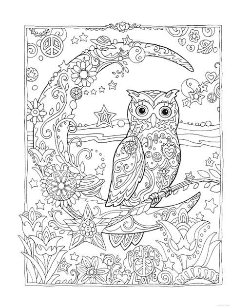 owl moon coloring page owl owls crescent moon flowers peace space coloring pages