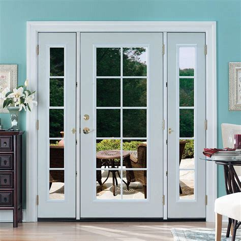 Patio Doors With Sidelites Masonite 72 In X 80 In Prehung Right Inswing 10 Lite Primed Steel Patio Door With