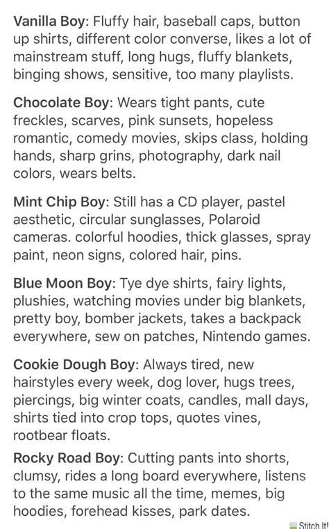 types of boys - tumblr aesthetic cr. @typesofboys on