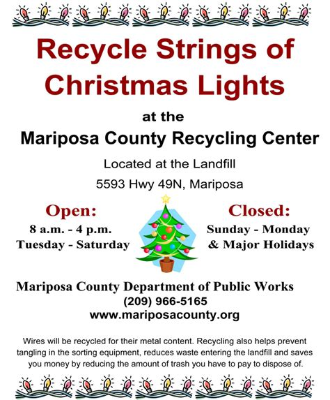 recycle your christmas tree lights at the mariposa