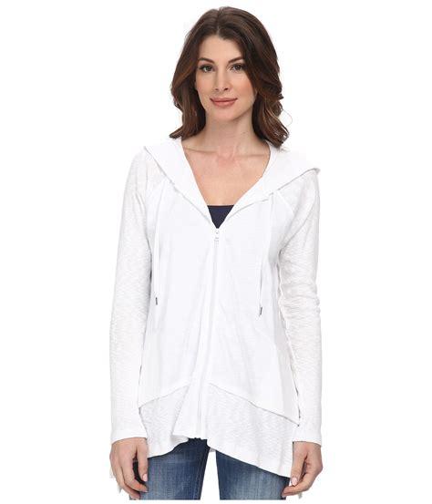 Hoodie Zipper Dkny dkny zip front hoodie in white lyst