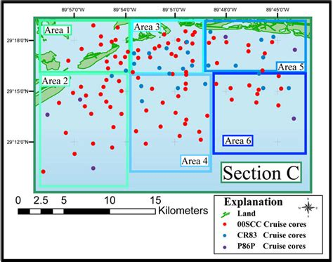 c study section section c study area map archive of sediment data