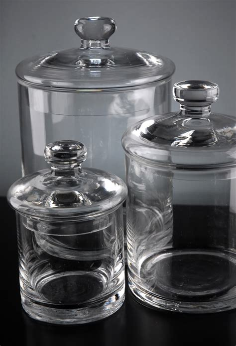 set   clear glass apothecary canister jars