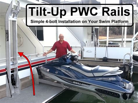 jet ski on boat swim platform pwc rails for houseboats yachts docks and piers