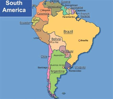 south america map with states and capitals america