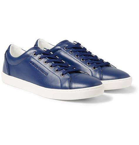 blue leather sneakers dolce gabbana leather sneakers in blue for lyst