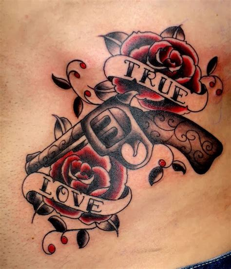 gun tattoos tattoos school gun and roses