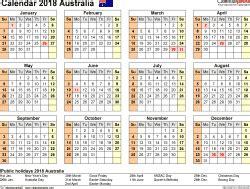 australia calendar 2018 free printable excel templates