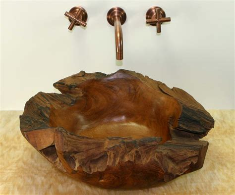 wood bathroom sink natural teak wood freeform vessel bathroom sink sinks gallery