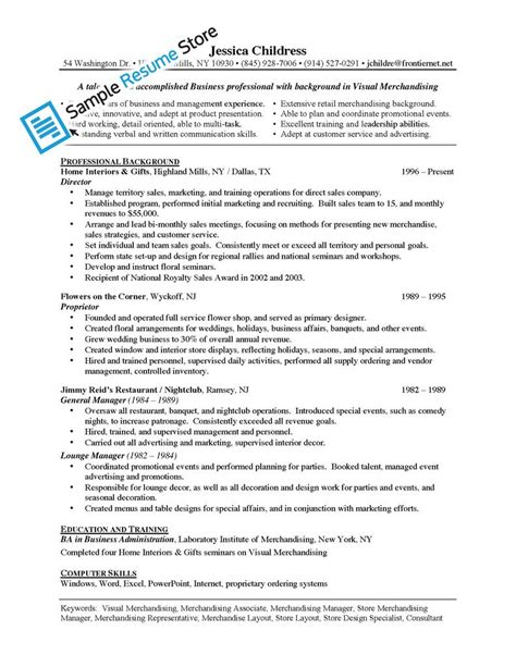 Free Sle Resume For Visual Merchandiser Merchandiser Sales Resume