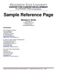 how to write a resume reference page sles of resumes