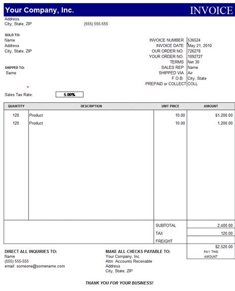 Invoice Template Excel Download Free Printable Invoice Template Microsoft Office Template