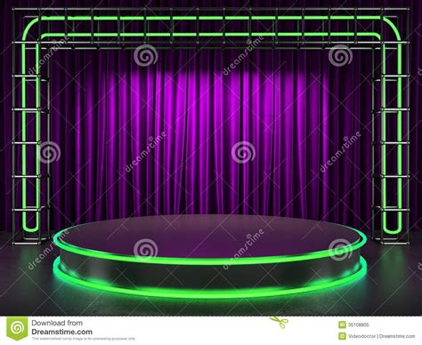 neon curtains fabrick curtain on stage with neon royalty free stock