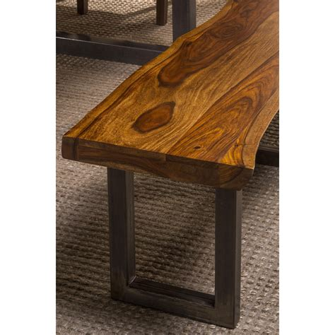 natural bench natural sheesham bench with live edge by hillsdale wolf
