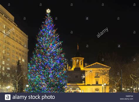 christmas tree lighting downtown portland or tree at pioneer courthouse square in portland stock photo royalty free image