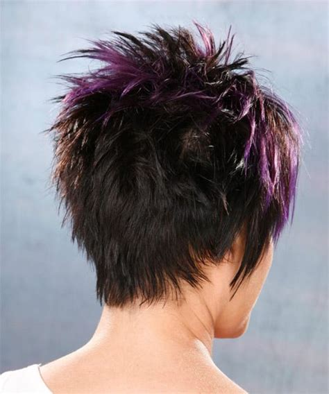 short straight black plum hairstyle  purple highlights