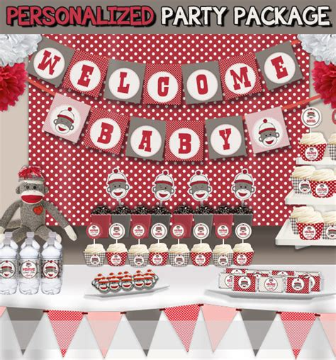 Sock Monkey Decorations by Sock Monkey Baby Shower Decorations Supplies Set