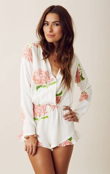 Fox Jumpsuit Pink jumpsuit romper floral white cold fox