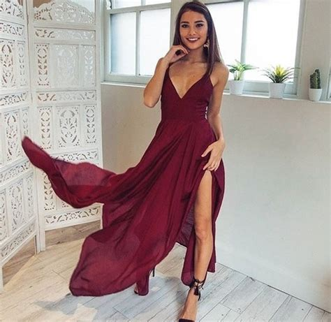 Dress Sweet Two Color Mix Import Premium Quality v neck chiffon burgundy prom dress with slit on storenvy