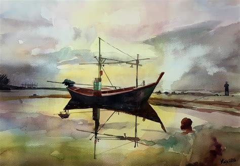 paintings of boats on water boat water painting art people gallery