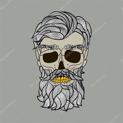 skull with a beard old skull logo stock vector