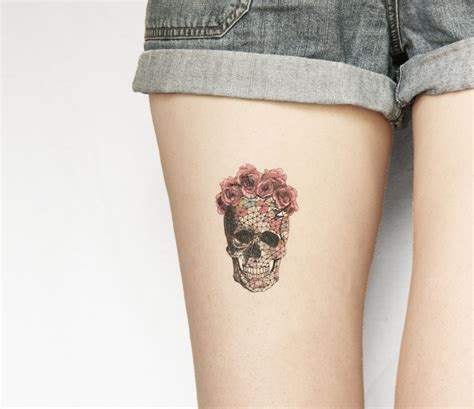 sugar skull temporary tattoo temporary skull skeleton floral