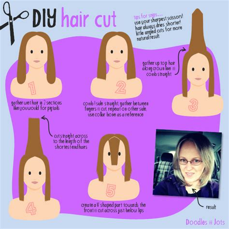 how to cut hair in layers yourself diy mid length haircut doodles and jots