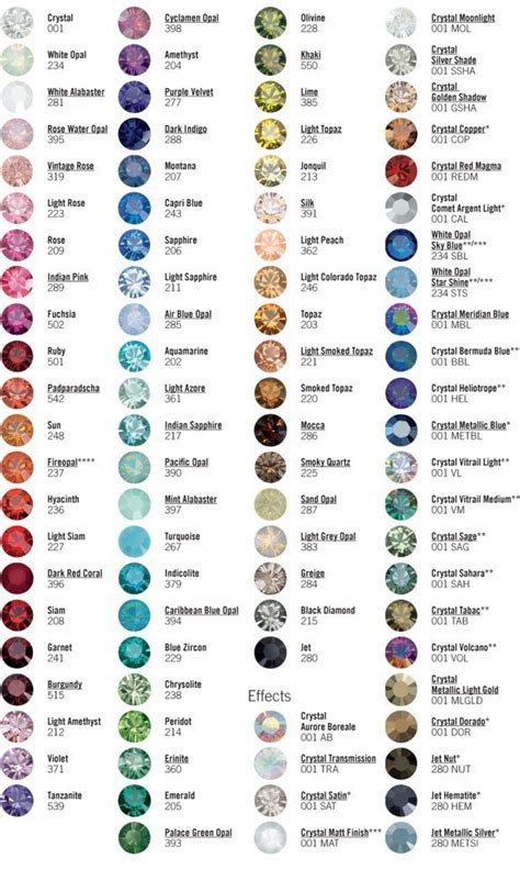 Executees.net   Swarovski Crystal Color Chart