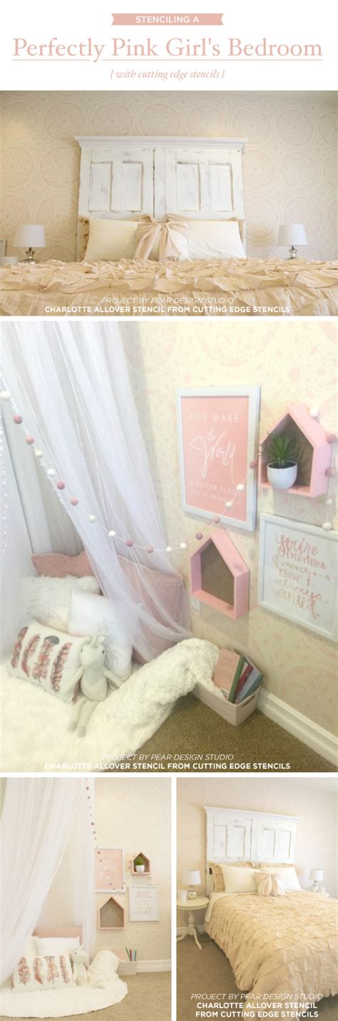 girls bedroom stencils stenciling a perfectly pink girl s bedroom stencil stories stencil stories