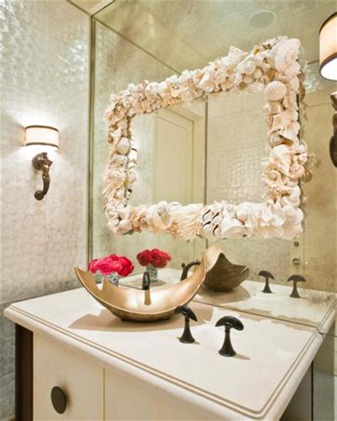 mirror on mirror decorating for bathroom how to decorate a bathroom mirror frame with shells 5