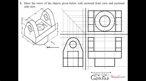 engineering drawing tutorials orthographic drawing  sectional front side view
