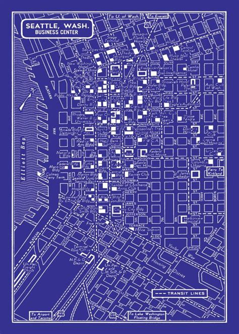 blueprint seattle 1949 vintage map of downtown seattle blueprint map print poster downtown seattle follow me