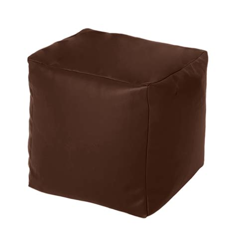 black leather square bean bag brown faux leather cube bean bag pouffe foot stool beanbag