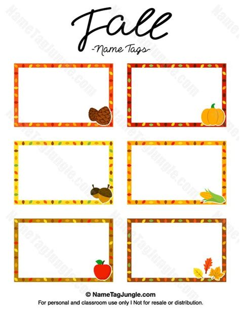 printable fall place cards template the world s catalog of ideas