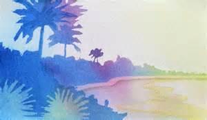 paint a sunset landscape using this watercolor technique