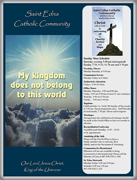 Church Bulletin Templates Microsoft Publisher by Bulletins St Edna Catholic Church