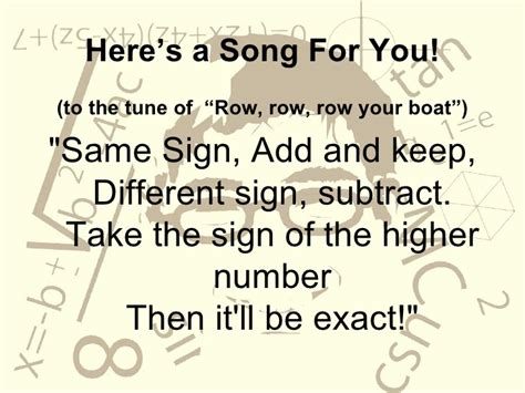 row row row your boat adding integers adding integers