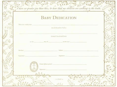 dedication certificate template baby dedication certificate template business