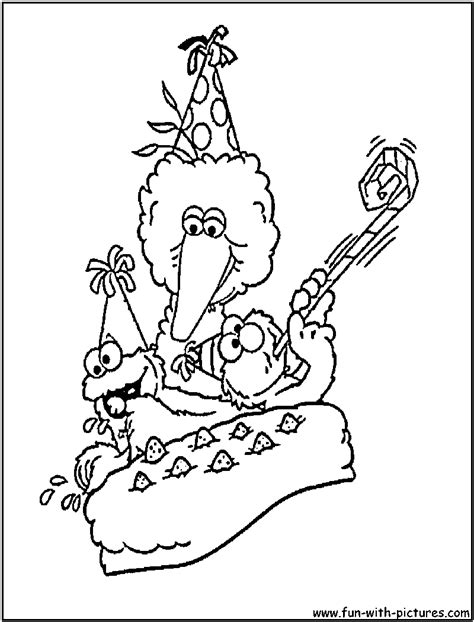 sesame street coloring pages birthday sesame street birthday coloring page