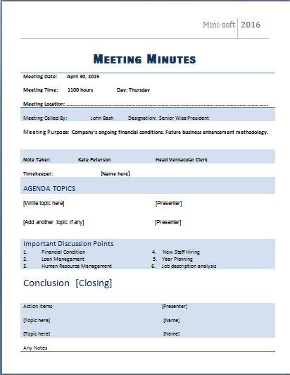 free meeting minutes template for microsoft word meeting minutes