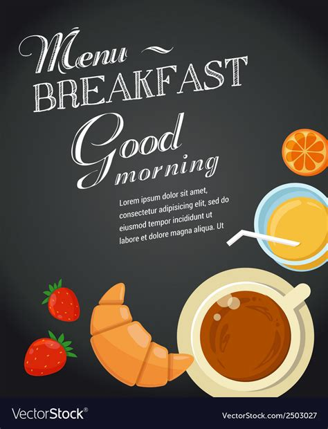 Breakfast Menu Template Royalty Free Vector Image Brunch Menu Template Free